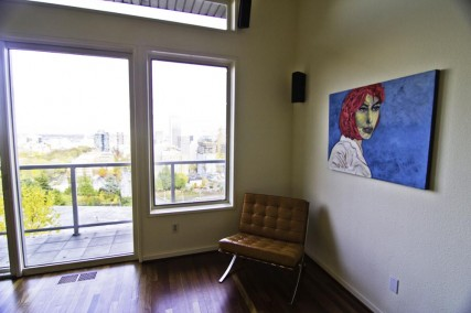Sam Roloff Oil Painting in Portland Home Girl with Pink Hair