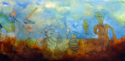 Floating Away as the world came crashing down 3092 Oil on Board Sam Roloff 48x23 inches