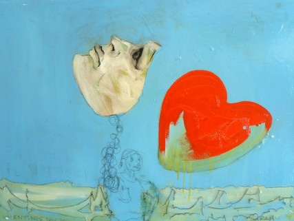 Valentines Day 2011 oil on canvas Sam Roloff big red heart with face