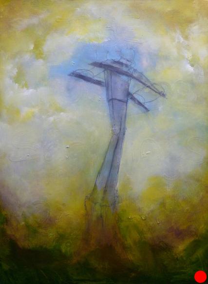 Portland Aerial Tram at OHSU 2 | 3093 Oil on Canvas Sam Roloff 18x24 inches 2011