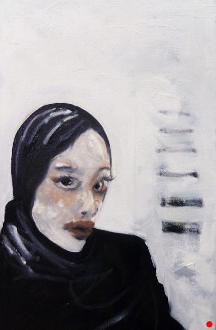 Madison 3107 oil on Canvas #samroloff black and white woman portrait headdress 18x30 2011