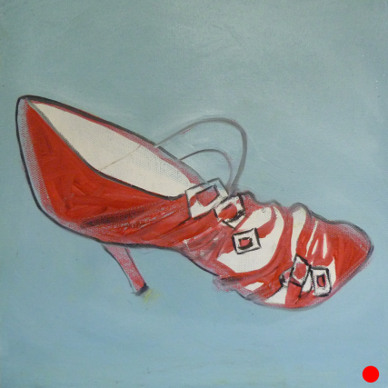 Sabine's Nine West Red Shoe 3140 Oil on Canvas 10x10 inches Sam Roloff