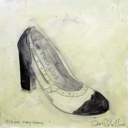 Jillian Rabe's Mary Janes sgr3041 Oil and Graphite on Canvas Sam Roloff 10x10 inches 2011