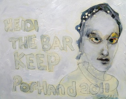 Heidi The Bar Keep 3083 Oil on Canvas Sam Roloff 20x16 inches 2012
