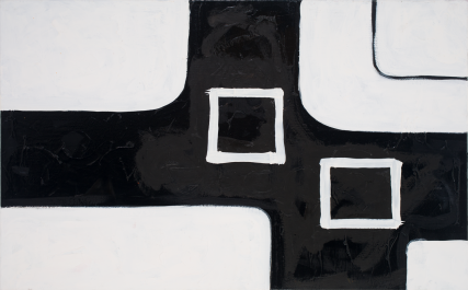 Iraq 3173 Oil on Canvas Sam Roloff Black and White Painting Bold Modern 48x30 inches 2012
