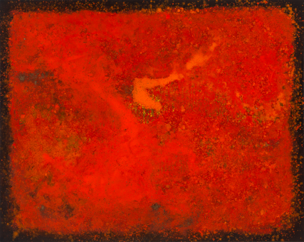 The 6th Persimmon six 3241 Oil on Canvas Sam Roloff Portland Artist 60x40 inches Red Abstract painting